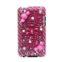 Insten Red/ White 3D Flowers Hard Snap-on Rhinestone Bling Case Cover For Apple iPod Touch 4th Gen