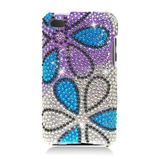 Insten Purple/ Blue Flowers Hard Snap-on Rhinestone Bling Case Cover For Apple iPod Touch 4th Gen