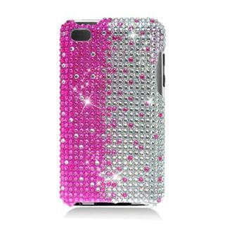 Insten Hot Pink/ Silver Hard Snap-on Diamond Bling Case Cover For Apple iPod Touch 4th Gen