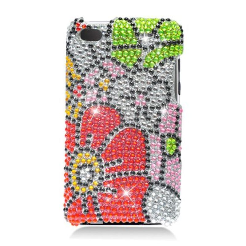 Insten Red/ Green Flowers Hard Snap-on Rhinestone Bling C...