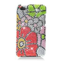 Insten Red/ Green Flowers Hard Snap-on Rhinestone Bling Case Cover For Apple iPod Touch 4th Gen