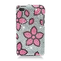 Insten Pink/ Silver Flowers Hard Snap-on Diamond Bling Case Cover For Apple iPod Touch 4th Gen