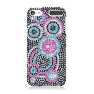 Insten Black/ Pink Circles Hard Snap-on Diamond Bling Case Cover For Apple iPod Touch 5th Gen