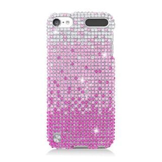 Insten Pink/ Silver Waterfall Hard Snap-on Diamond Bling Case Cover For Apple iPod Touch 5th Gen