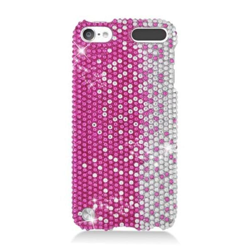 Insten Hot Pink/ Silver Hard Snap-on Rhinestone Bling Cas...
