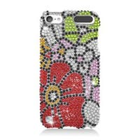 Insten Red/ Green Flowers Hard Snap-on Rhinestone Bling Case Cover For Apple iPod Touch 5th Gen