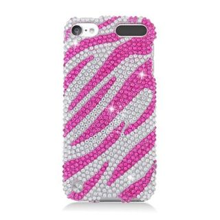 Insten Hot Pink/ Silver Zebra Hard Snap-on Diamond Bling Case Cover For Apple iPod Touch 5th Gen