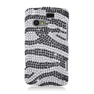 Insten Black/ Silver Zebra Hard Snap-on Diamond Bling Case Cover For Kyocera Rise C5155