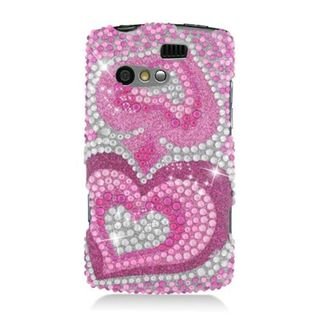 Insten Hot Pink Hearts Hard Snap-on Diamond Bling Case Cover For Kyocera Rise C5155