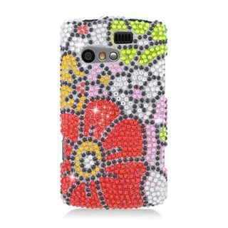 Insten Red/ Green Flowers Hard Snap-on Rhinestone Bling Case Cover For Kyocera Rise C5155