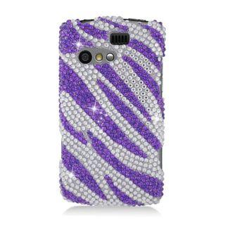 Insten Purple/ Silver Zebra Hard Snap-on Diamond Bling Case Cover For Kyocera Rise C5155