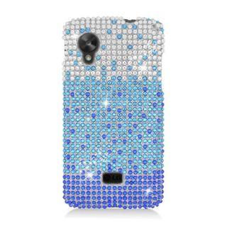 Insten Blue/ Silver Waterfall Hard Snap-on Diamond Bling Case Cover For LG Google Nexus 5 D820