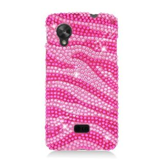 Insten Hot Pink/ Pink Zebra Hard Snap-on Rhinestone Bling Case Cover For LG Google Nexus 5 D820