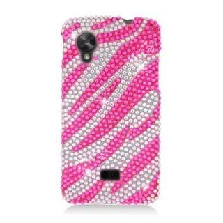 Insten Hot Pink/ Silver Zebra Hard Snap-on Rhinestone Bling Case Cover For LG Google Nexus 5 D820