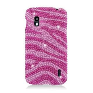 Insten Hot Pink/ Pink Zebra Hard Snap-on Diamond Bling Case Cover For LG Google Nexus 4 E960