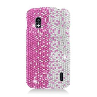 Insten Hot Pink/ Silver Hard Snap-on Rhinestone Bling Case Cover For LG Google Nexus 4 E960