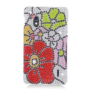 Insten Green/ Red Flowers Hard Snap-on Rhinestone Bling Case Cover For LG Optimus G E970