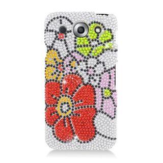 Insten Green/ Red Flowers Hard Snap-on Diamond Bling Case Cover For LG Optimus G Pro E980