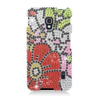 Insten Red/ Green Flowers Hard Snap-on Rhinestone Bling Case Cover For LG Optimus F6 MS500