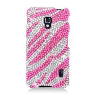 Insten Hot Pink/ Silver Zebra Hard Snap-on Diamond Bling Case Cover For LG Optimus F6 MS500