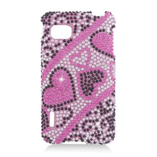 Insten Hot Pink Hearts Hard Snap-on Rhinestone Bling Case Cover For LG Optimus F3 LS720