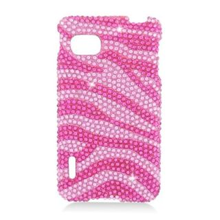 Insten Hot Pink/ Pink Zebra Hard Snap-on Rhinestone Bling Case Cover For LG Optimus F3 LS720