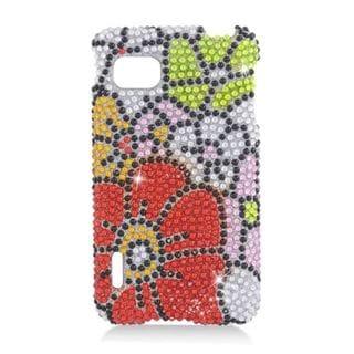 Insten Red/ Green Flowers Hard Snap-on Diamond Bling Case Cover For LG Optimus F3 LS720