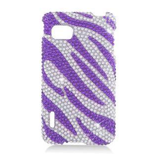 Insten Purple/ Silver Zebra Hard Snap-on Diamond Bling Case Cover For LG Optimus F3 LS720