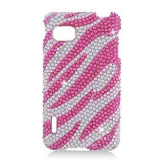 Insten Hot Pink/ Silver Zebra Hard Snap-on Rhinestone Bling Case Cover For LG Optimus F3 LS720