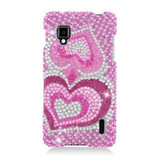 Insten Hot Pink Hearts Hard Snap-on Diamond Bling Case Cover For LG Optimus G LS970 Sprint