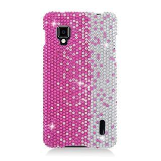 Insten Hot Pink/ Silver Hard Snap-on Diamond Bling Case Cover For LG Optimus G LS970 Sprint