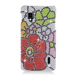 Insten Red/ Green Flowers Hard Snap-on Rhinestone Bling Case Cover For LG Optimus G LS970 Sprint