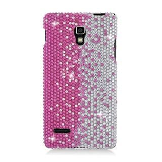 Insten Hot Pink/ Silver Hard Snap-on Rhinestone Bling Case Cover For LG Optimus L9 P769