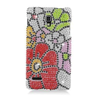 Insten Red/ Green Flowers Hard Snap-on Rhinestone Bling Case Cover For LG Optimus L9 P769
