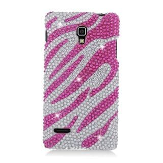 Insten Hot Pink/ Silver Zebra Hard Snap-on Rhinestone Bling Case Cover For LG Optimus L9 P769