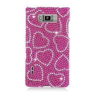 Insten Hot Pink Hearts Hard Snap-on Rhinestone Bling Case Cover For LG Splendor US730 / Venice LG730