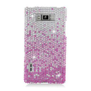 Insten Pink/ Silver Waterfall Hard Snap-on Diamond Bling Case Cover For LG Splendor US730 / Venice LG730
