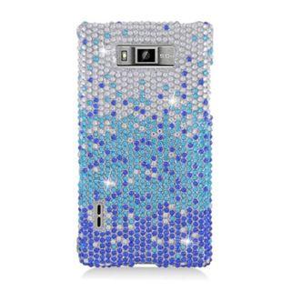 Insten Blue/ Silver Waterfall Hard Snap-on Diamond Bling Case Cover For LG Splendor US730 / Venice LG730