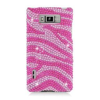 Insten Hot Pink/ Pink Zebra Hard Snap-on Rhinestone Bling Case Cover For LG Splendor US730 / Venice LG730