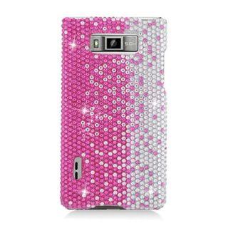 Insten Hot Pink/ Silver Hard Snap-on Diamond Bling Case Cover For LG Splendor US730 / Venice LG730