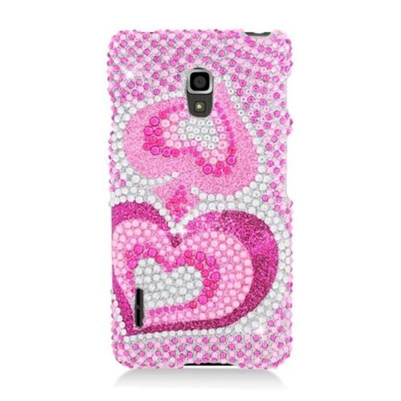 Insten Hot Pink Hearts Hard Snap-on Rhinestone Bling Case...