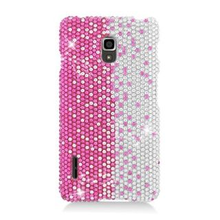 Insten Hot Pink/ Silver Hard Snap-on Diamond Bling Case Cover For LG Optimus F7 US780 (US Cellular)