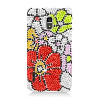 Insten Red/ Green Flowers Hard Snap-on Rhinestone Bling Case Cover For LG Optimus F7 US780 (US Cellular)
