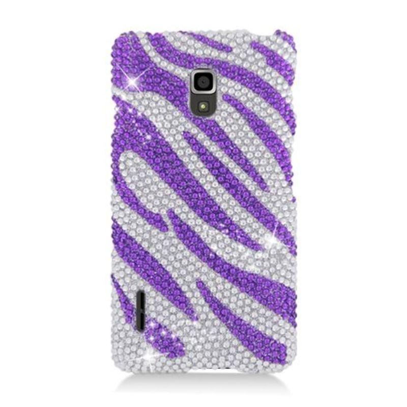 Insten Purple/ Silver Zebra Hard Snap-on Diamond Bling Ca...