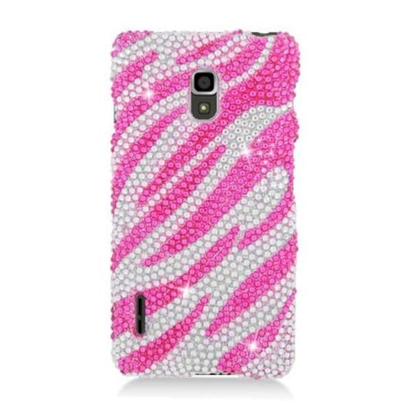 5e449bec9 Insten Hot Pink  Silver Zebra Hard Snap-on Rhinestone Bling Case Cover For  LG