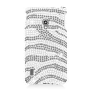 Insten Black/ Silver Zebra Hard Snap-on Diamond Bling Case Cover For LG Lucid 2 VS870