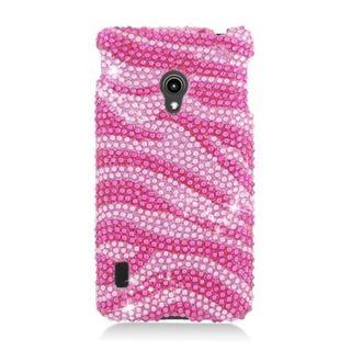 Insten Hot Pink/ Pink Zebra Hard Snap-on Rhinestone Bling Case Cover For LG Lucid 2 VS870