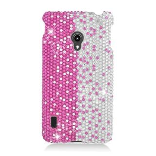 Insten Hot Pink/ Silver Hard Snap-on Rhinestone Bling Case Cover For LG Lucid 2 VS870