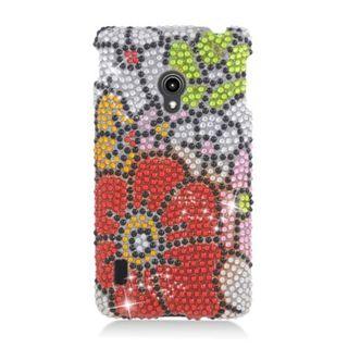 Insten Red/ Green Flowers Hard Snap-on Rhinestone Bling Case Cover For LG Lucid 2 VS870