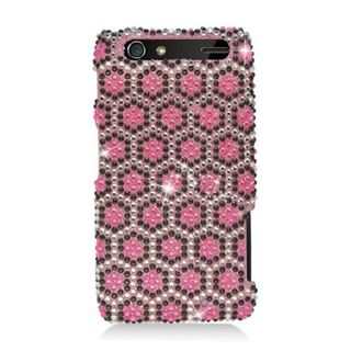 Insten Pink Hexagon Hard Snap-on Diamond Bling Case Cover For Motorola Droid Razr XT912